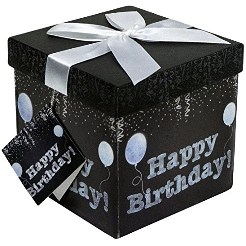 Gift Box 5x5x5 Amrita Birthday Pop up in Seconds comes with Decorative Ribbon mounted on the lid A Gift Tag and Tissue Paper  No Glue or Tape Required