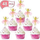 Blulu 48 Pezzi Topper Cupcake Ballerina Topper Cupcake Tutu Topper Cupcake Ballerine Toppe...