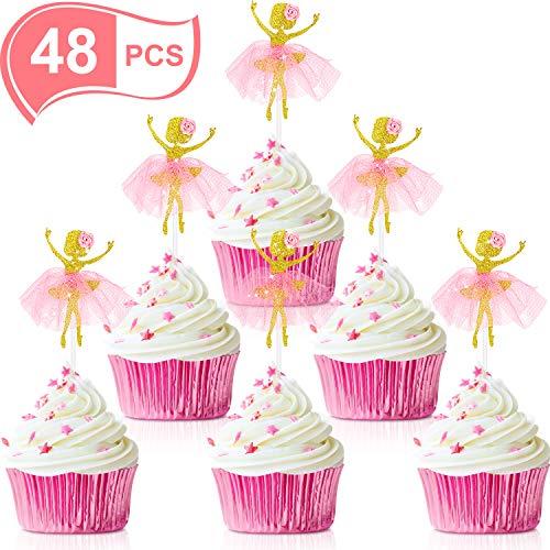 48 Stück Ballett Tänzerin Mädchen Cupcake Toppers Ballerina Dessert Muffin Cupcake Toppers für Hochzeit Baby Dusche Geburtstag Party