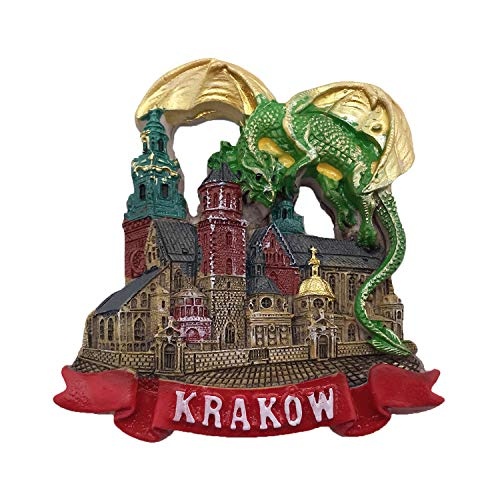 3D Drachen Krakau Polen Kühlschrankmagnet Tourist Travel Souvenirs Handgemachte Harz Handwerk Magnetics Home Küche Dekoration Sammlung Geschenk