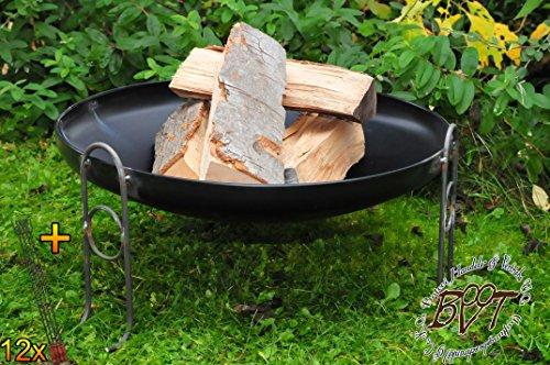 51P+EF8C4XL - BTV Outdoor Feuerschale + Zubehör - Premium-Feuerschale mit Design-Füßen, XL ca. 60 cm MIT Grillzubehör: 12x Grillspiesse Grillbesteck Grillspass Holzkohle