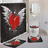 Cortinas de ducha Conjuntos 3/4 piezas En forma de amor Cortinas de ducha Casas Inglaterra Tapete de baño Cuarto de...