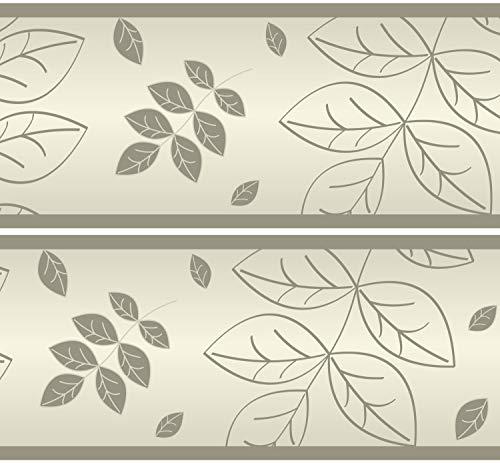 Selbstklebende Bordüre trockene Blätter, 4-teilig 560x15cm, Tapetenbordüre, Wandbordüre, Borte, Wanddeko,Natur, beige