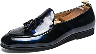 QinMei Zhou Men's Fashion Oxford Casual Classic Tassel Comfortable Low Top Patent Leather Formal Shoes (Color : Blue, Size : 10 UK)