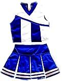 Girls' Cheerleader Cheerleading Outfit Uniform Costume Blue/White (M / 5-8)