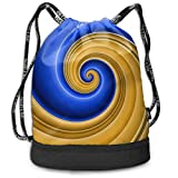 ewtretr Sacs à Cordon,Sac à Dos Golden Blue Whirlpool Drawstring Backpack...