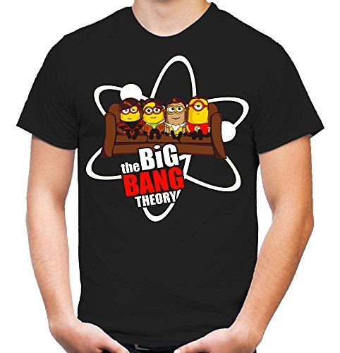 Big Bang Minions Sofa T-Shirt | Big Bang Theory | Ich Einfach Unverbesserlich | Minion | Minions | Banana | Fun | schwarz (L)