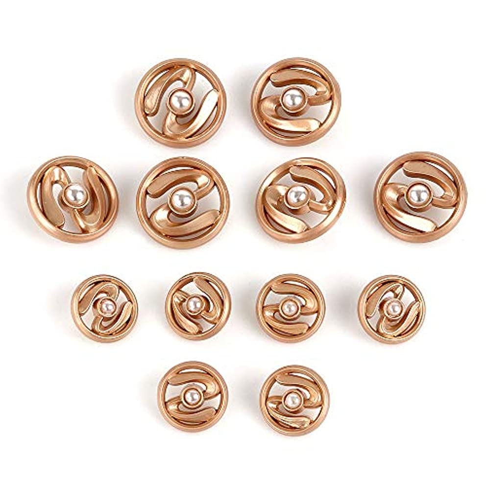 XinRui 12 Pcs Premium Electroplated Gold Tone Metal Buttons Set with Austrilia Pearl
