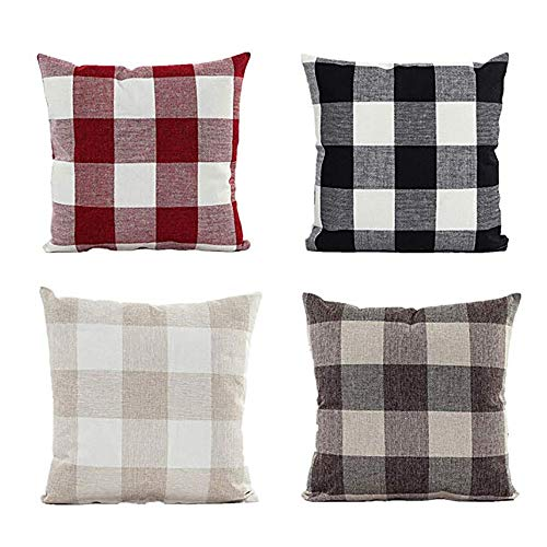 4PC Classic Plaids Cotton Linen Soft Christmas Decorative Square Pillow Covers, Christmas Holiday Party Decoration, Decor Christmas Tree Ornaments