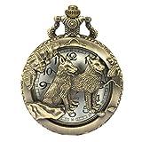 Reloj de Bolsillo SIBOSUN Steampunk Patrón Lobo Caja Cadena Estuche Hueco Cuarzo Números árabes