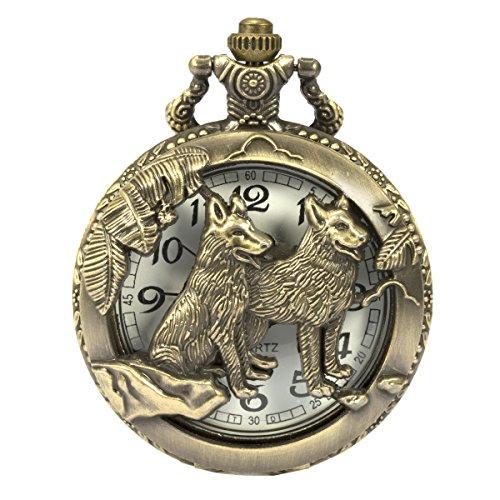 SIBOSUN Pocket Watch Steampunk Wolf Wolves Pattern Chain Box Hollow Case Quartz Arabic Numerals