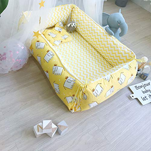 Great Features Of QAQ Baby Travel Bed Cotton Portable Folding Detachable Wash 3 Piece Set,H,155120cm
