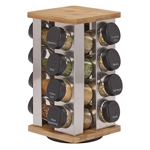 Kamenstein 5134680 Warner 16Jar Revolving Countertop Spice Rack Organizer with Free Spice Refills for 5 Years