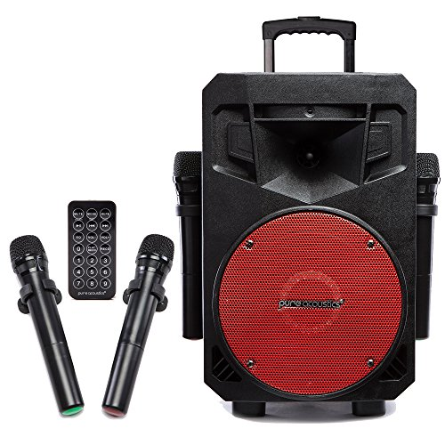 PA System with LED Party Lights, Wireless Portable Bluetooth Audio Speaker with 2 Wireless Microphones FM Radio Party Karaoke Machine Sound System Red Grill MCP-75 Suono Soundstream by Pure Acoustics