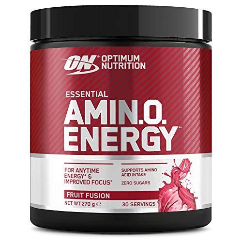 Optimum Nutrition ON Amino Energy Pre Workout Booster, Zuckerfrei Energy Drink Pulver mit Beta Alanin, Vitamin C, Koffein, Aminosäuren, Fruit Fusion, 30 Portionen, 270g, Verpackung kann Variieren