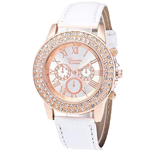 QFERW Damenuhr Genf Uhr Frauen Strass Kristall Kleid Armband Uhr Candy Farbe hochwertige PU Lederband Relogio Feminino # BL5-in Damenuhren von Uhren, blau