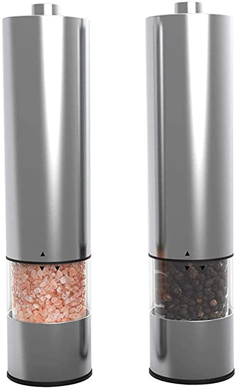 Electric Salt And Pepper Grinder Set Battery Operated Electronic Pepper Shakers 2 Adjustable Coarseness Level One Handed Use Stainless Steel Mills Automatic LED Light Ma Maison Co