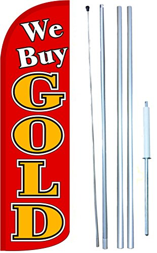We Buy Gold Windless Swooper Tall Feather Banner Flag Kit (11.5' Tall Flag, 15' Tall Hybrid Flagpole, Ground Mount Stake) by The Flag Depot