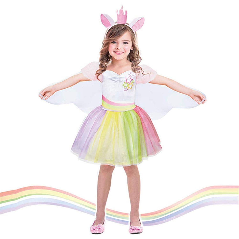 女の子のパーティードレス 女の子のユニコーンのコスチュームパーティーの衣装ファンシードレスプリンセスツツースカートフェスティバルのパフォーマンスのための誕生日会見のカーニバル フォーマルなパーティーの誕生日の卒業プロムのダンスのボールのドレスドレス (サイズ : 4-6T)