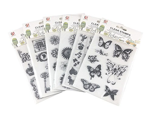 Honbay 6 Sheets Different Style Butterfly Flower Clear Stamps for Card Making Decoration and Scrapbooking
