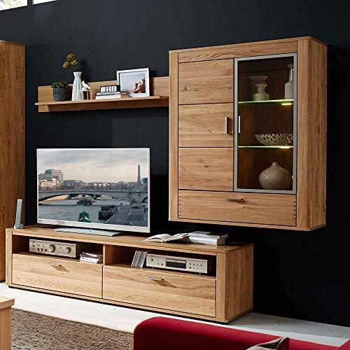 Lomadox Massivholz Wohnzimmer TV Mediawand Wohnwand Wildeiche inkl. LED, montierte Möbel