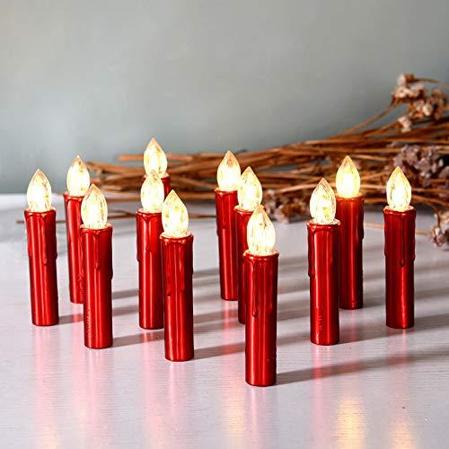CCLIFE TÜV GS LED Weihnachtskerzen Kabellos RGB Kerzen Bunt Weihnachtsbaumkerzen Christbaumkerzen mit Fernbedienung Timer Kerzenlichter, Farbe:Rot, Größe:20er