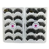 2 Boxes 3D Real Mink False Eyelashes LASGOOS Luxurious Soft Cross K02 Thick Very Long for Party 10 Pairs Fake Eye Lashes 5 Pairs/Box K01+K02