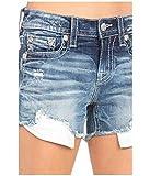 Miss Me Mid-Rise Shorts with Frayed Hem in Dark Blue Dark Blue 29