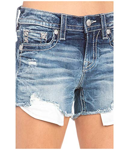 Miss Me Mid-Rise Shorts with Frayed Hem in Dark Blue Dark Blue 28