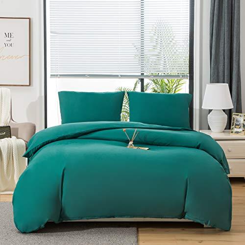MohAP - Juego de cama de 4 piezas, funda nórdica de 220 x 240 cm, sábana bajera de 160 x 200 cm y 2 fundas de almohada de 65 x 65 cm, color gris, para cama doble, 110 hilos/cm2 de microfibra