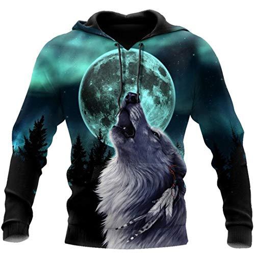 Wolf and Moon 3D Full Body Printing Unisex Hoodie Herren Sweatshirt Zipper Pullover Casual Gr. XL, beige