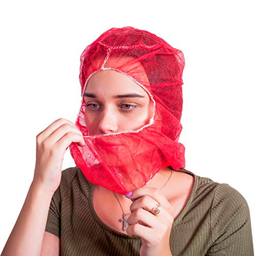 ABC 100 Pack Polypropylene Hooded Caps. Red Non Woven Hoods with Elastic Closure. Disposable Bouffant Hoods. Unisex Hair Covers for Food Service, Industrial Use. Breathable, Lightweight. One Size.