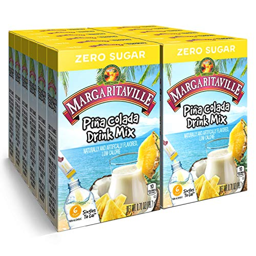 Margaritaville Singles To Go Water Drink Mix - Pina Colada Flavored, Non-Alcoholic Powder Sticks (12 Boxes with 6 Packets Each - 72 Total Servings), 0.70 Ounce (Pack of 12)