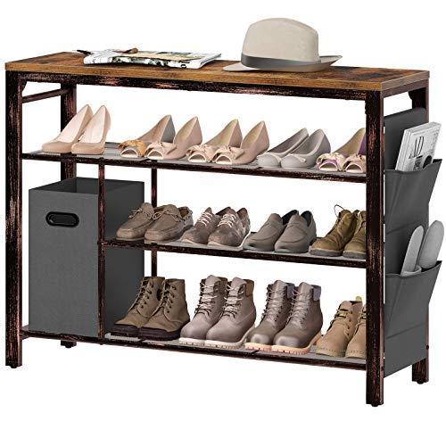"""Rolanstar 4-Tier Shoe Rack, 39"""" Storage Entry Shoe Bench with Mesh Shelves and Non-woven Storage Bin, Rustic Foyer Rack for Hallway Front Door, Doorway, Living Room, Mudroom, Steel Frame, Rustic Brown"""