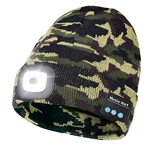 Unisex Bluetooth LED Beanie Hat with Light, Built-in Stereo Speaker and Mic,Headlamp Headphone Beanie,Gifts for Men&Women,Winter Warm Knit Cap for Sports Outdoors(Camouflage Green)