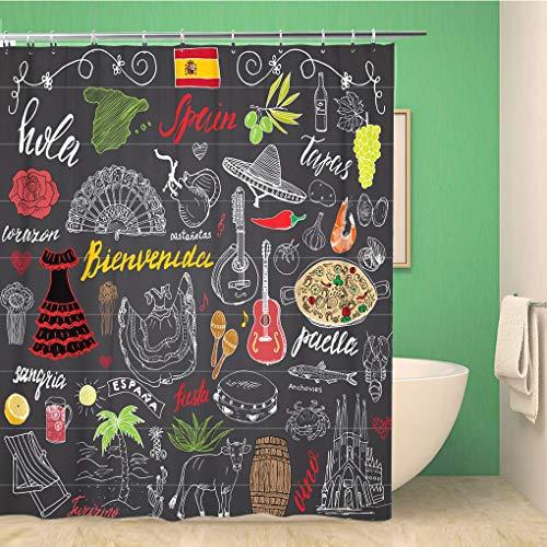 Awowee Decor Duschvorhang Spanien Doodles spanische Schrift Lebensmittel Paella Garnelen Olive Grape 180 x 180 cm Polyester Stoff Wasserdicht Badvorhänge Set mit Haken für Badezimmer