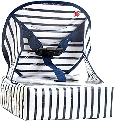 Baby-To-Love Easy Up, Rehausseur chaise Bébé Compact et Nomade (Blue Stripes)