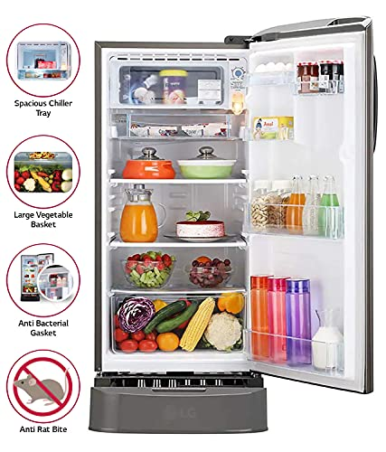 LG 190 L 5 Star Inverter Direct-Cool Single Door Refrigerator (GL-D201APZZ, Shiny Steel, Base stand with drawer) 4