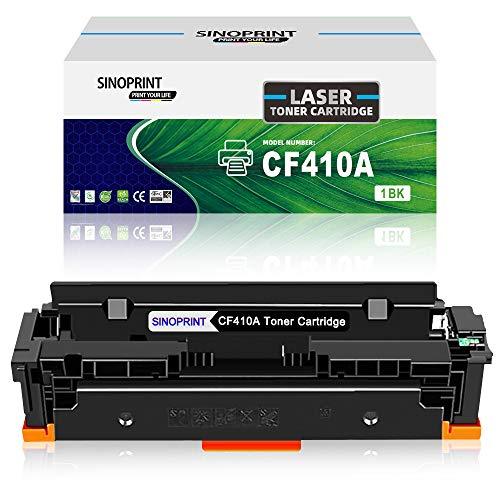 SINOPRINT - Cartucho de tóner Compatible para HP 410A CF410A 410X CF410X para Impresora Color Laserjet Pro MFP M477fdw M477fdn M477fnw M452dn M377dw M452dw M452nw HP410A HP410X (1 Negro)