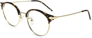 Firmoo Blue Light Filter Computer Glasses for Blocking UV Headache,Anti Glare, Anti UV, Anti Eyestrain,Round Metal Horn Rimmed Lightweight Tortoise Glasses Frame for Women