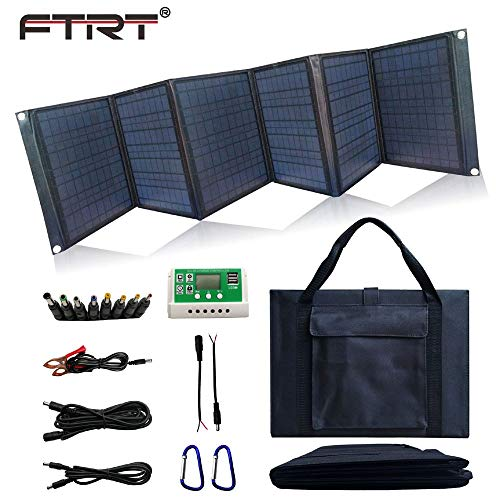 Solar Charger 60W Foldable Solar Panel Portable Battery Charger Kit with Dual 5V USB Ports for Cell Phone Power Bank, DC18V Output for Laptop Tablet, DC12V for Car motorcycles Boat RVs Charge Battery