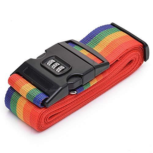 EKISHOP(エキショップ)スーツケースベルト ダイヤル式 純色 ラゲッジベルト ワンタッチ式 長さ調整可 ネームタグ付き 荷崩れ 盗難防止 出張 海外旅行の必須アイテム (虹色)