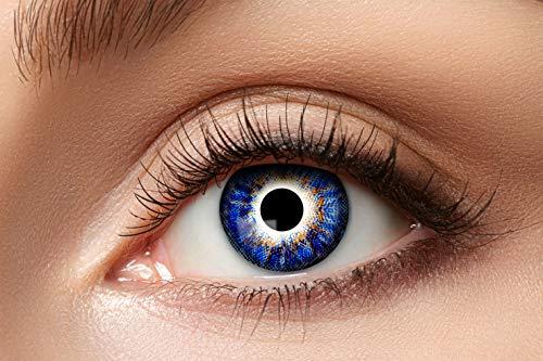 Zoelibat Natürlich Farbige Kontaktlinsen für 12 Monate, Ton91, 2 Stück, BC 8.6 mm / DIA 14.5 mm, Jahreslinsen in Markequalität, blau