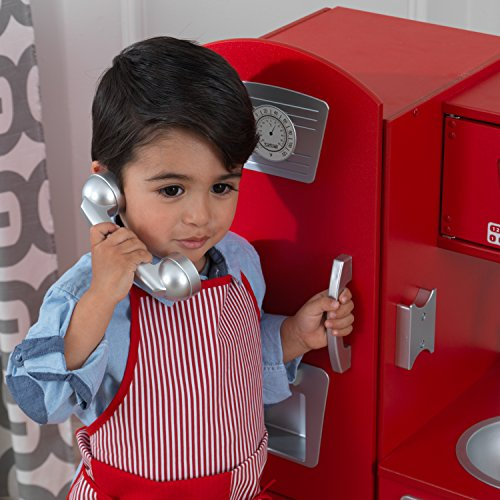 KidKraft 53173 Vintage-Spielküche aus Holz in Rot - 13