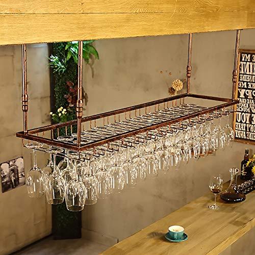 Estantes colgantes para copas de vino Talleres de bronce / botella de vino, tazas de suspensión Decoraciones para el hogar y la barra de cocina, altura ajustable: 30 - 60 cm Organización y almacenamie