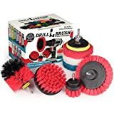 Drillbrush Commercial Heavy Duty Scouring Pads and Scrubber Brush Set – Drill Powered Nylon Scrub Brush Attachment Set – Outdoor Cleaning Drill Brush Power Scrubber – Drill Scrubber Attachment Brush