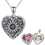 Personalized Sunflower Heart Locket Sterling Silver Necklace That Holds 2 Pictures Memory Photo Lockets Custom Any Photo