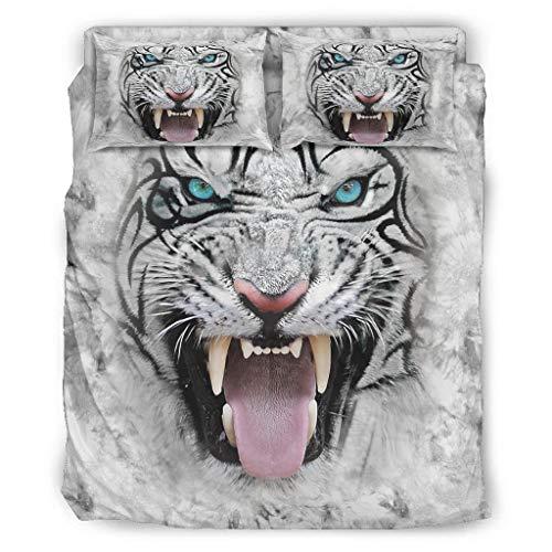 Ouniaodao Juego de ropa de cama de 4 piezas, diseño de carita de tigre blanco, funda de edredón y almohada – suave y cómoda colcha blanca 240 x 264 cm