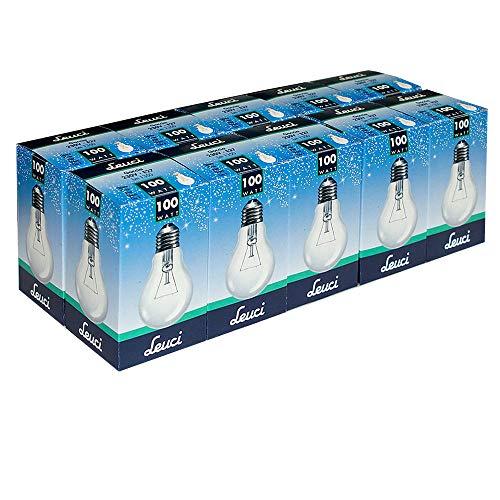 10 x Leuci Glühbirne Birnenform A55 100W E27 klar Glühlampe Glühbirnen Glühlampen warmweiß dimmbar (100 Watt)
