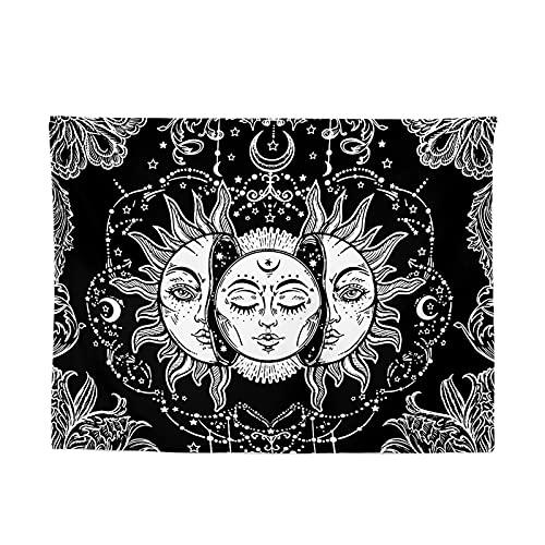 Tecido de fundo preto e branco, tapeçarias, tecido de suspensão para decoração de sala de estar, tecido de fundo multifuncional, adequado para sala de estar, quarto, dormitório (1 peça), preto + branco, 150 x 200 cm